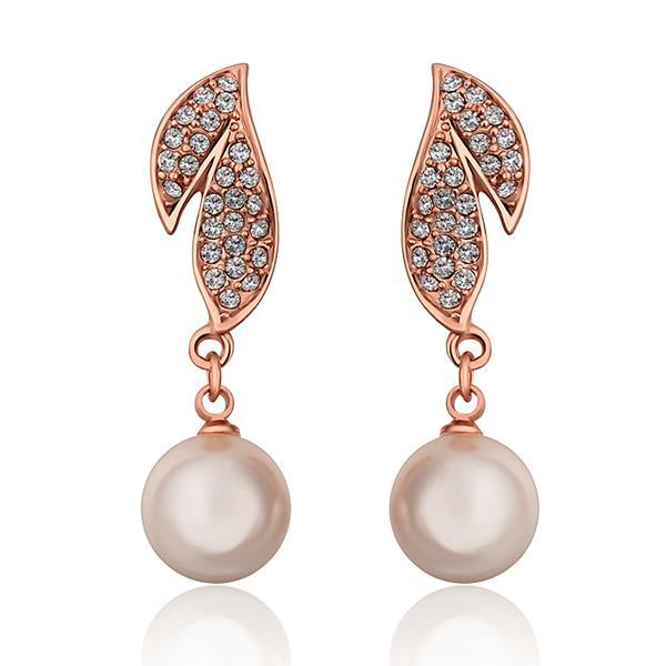 Vienna Jewelry 18K Rose Gold Drop Down Leaves Earrings Made with Swarovksi Elements