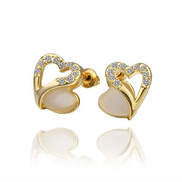 Vienna Jewelry 18K Gold Hollow Heart Stud Earrings with Gem Made with Swarovksi Elements