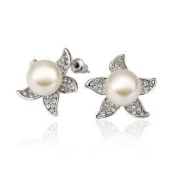 Vienna Jewelry 18K White Gold Starfish Design Studs Made with Swarovksi Elements - Thumbnail 0