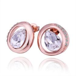 Vienna Jewelry 18K Rose Gold Circular Stud Earrings with Crystal Jewel Made with Swarovksi Elements - Thumbnail 0