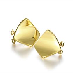 Vienna Jewelry 18K Gold Curved Rhombus Stud Earrings Made with Swarovksi Elements