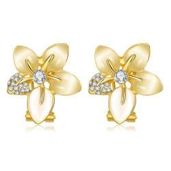 Vienna Jewelry 18K Gold Petal Paris Floral Petal Earrings Made with Swarovksi Elements