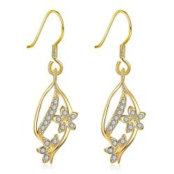 Vienna Jewelry Gold Pave' Covered Natural Inspired Drop Down Earrings - Thumbnail 0