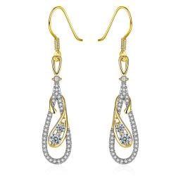 White Gold Zig Zag Inspired Drop Earrings - Thumbnail 0