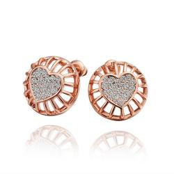 Vienna Jewelry 18K Rose Gold Stud Earrings with Heart Shaped Placing Made with Swarovksi Elements - Thumbnail 0