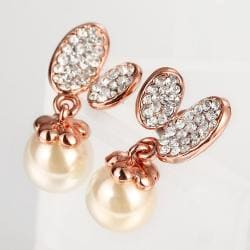 Vienna Jewelry 18K Rose Gold Drop Down Earrings with Pearl Made with Swarovksi Elements - Thumbnail 0