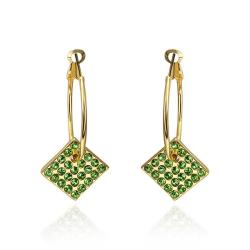 Vienna Jewelry 18K Gold Drop Down Earrings with Emerald Jewels Made with Swarovksi Elements - Thumbnail 0
