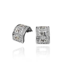 Vienna Jewelry 18K White Gold 1/2 Hoop Earrings with Crystal Jewels Made with Swarovksi Elements - Thumbnail 0