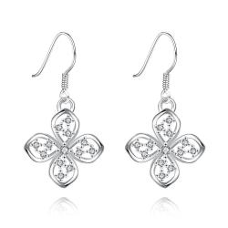Vienna Jewelry White Gold Plated Hollow Clover Drop Down Earrings