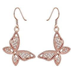 Vienna Jewelry Rose Gold Plated Butterflies Drop Down Earrings - Thumbnail 0