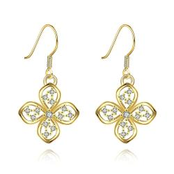 Vienna Jewelry Gold Plated Hollow Clover Drop Down Earrings - Thumbnail 0
