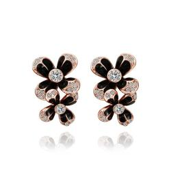 Vienna Jewelry 18K Rose Gold Floral Drop Down Earrings Made with Swarovksi Elements - Thumbnail 0