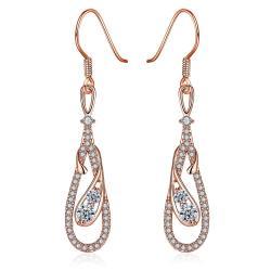 Rose Gold Zig Zag Inspired Drop Earrings - Thumbnail 0