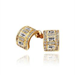 Vienna Jewelry 18K Gold 1/2 Hoop Earrings with Crystal Jewels Made with Swarovksi Elements - Thumbnail 0