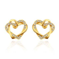 Vienna Jewelry 18K Gold Crystal Covered Hollow Hearts Stud Earrings Made with Swarovksi Elements - Thumbnail 0