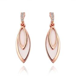 Vienna Jewelry 18K Rose Gold Ivory Covering Drop Down Earrings Made with Swarovksi Elements - Thumbnail 0