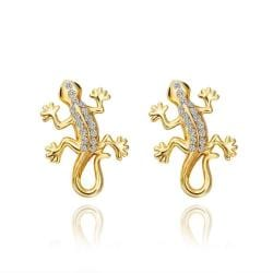 Vienna Jewelry 18K Gold Salamander Stud Earrings Made with Swarovksi Elements - Thumbnail 0