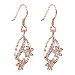 Vienna Jewelry Rose Gold Pave' Covered Natural Inspired Drop Down Earrings - Thumbnail 0