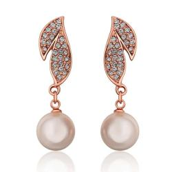 Vienna Jewelry 18K Rose Gold Drop Down Leaves Earrings Made with Swarovksi Elements - Thumbnail 0