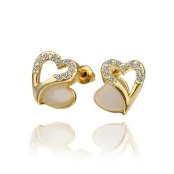 Vienna Jewelry 18K Gold Hollow Heart Stud Earrings with Gem Made with Swarovksi Elements - Thumbnail 0