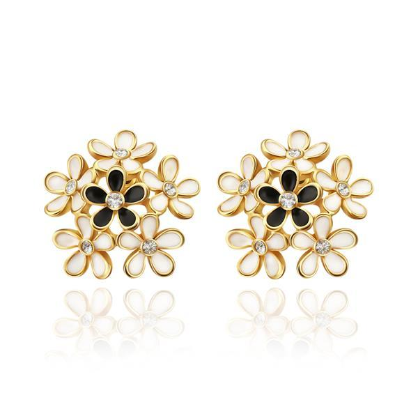 Vienna Jewelry 18K Rose Gold Studs With Multiple Floral Petals Made with Swarovksi Elements