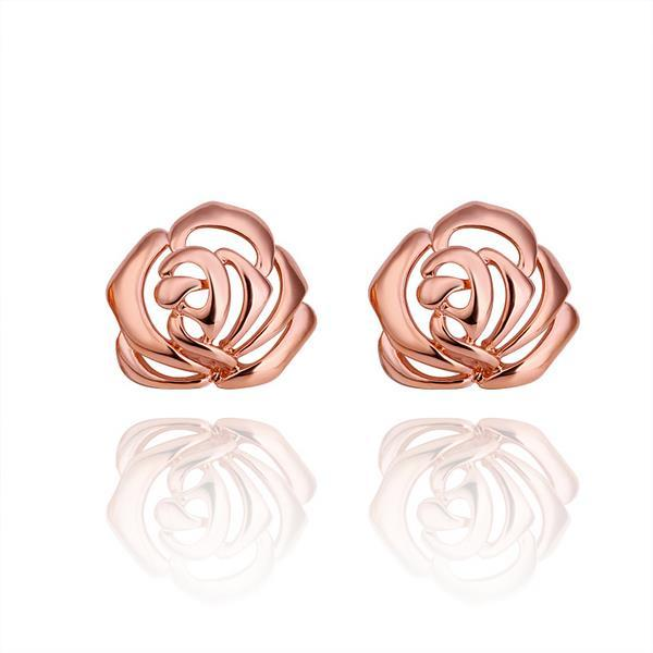 Vienna Jewelry 18K Rose Gold Hollow Floral Stud Earrings Made with Swarovksi Elements