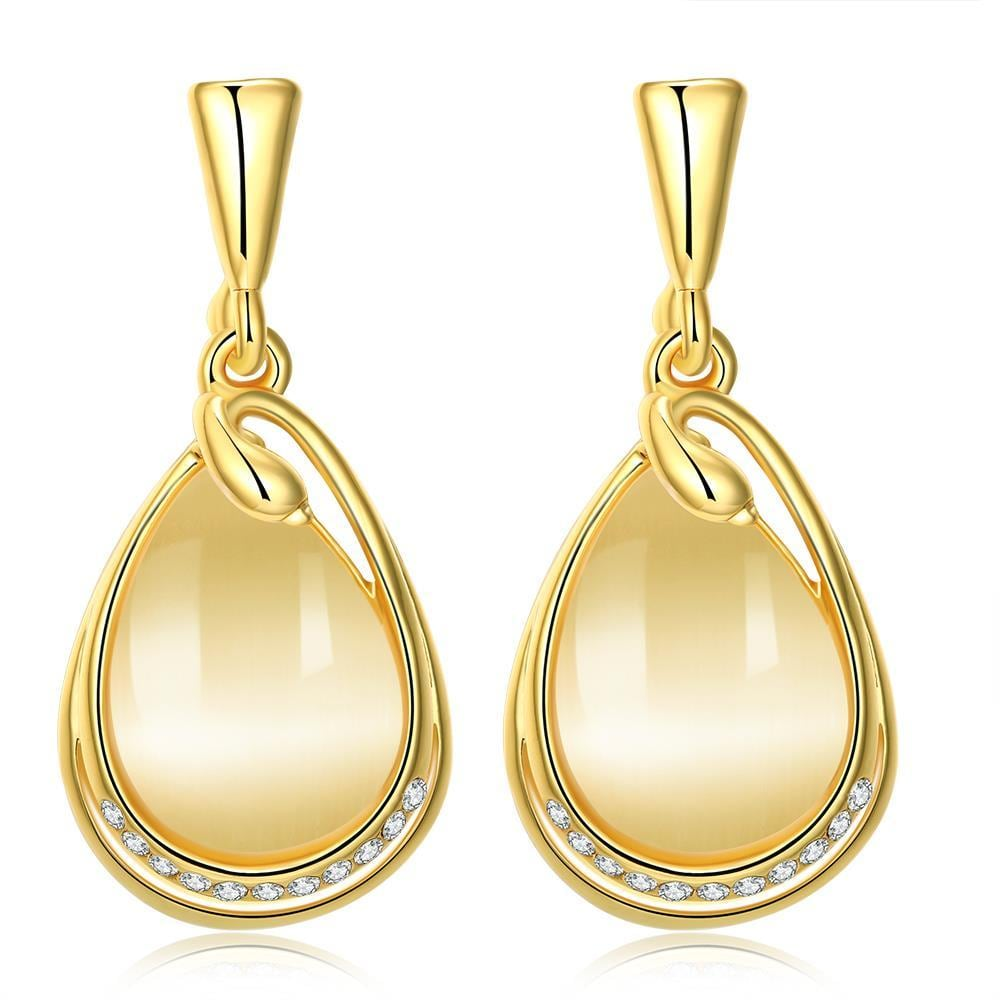 Vienna Jewelry 18K Gold Simple Drop Down Earrings Made with Swarovksi Elements