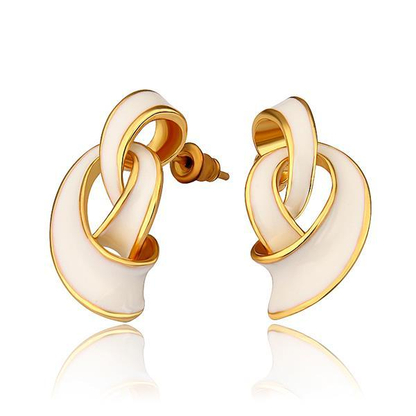 Vienna Jewelry 18K Gold Abstract Intertwined Ivory Drop Down Earrings Made with Swarovksi Elements
