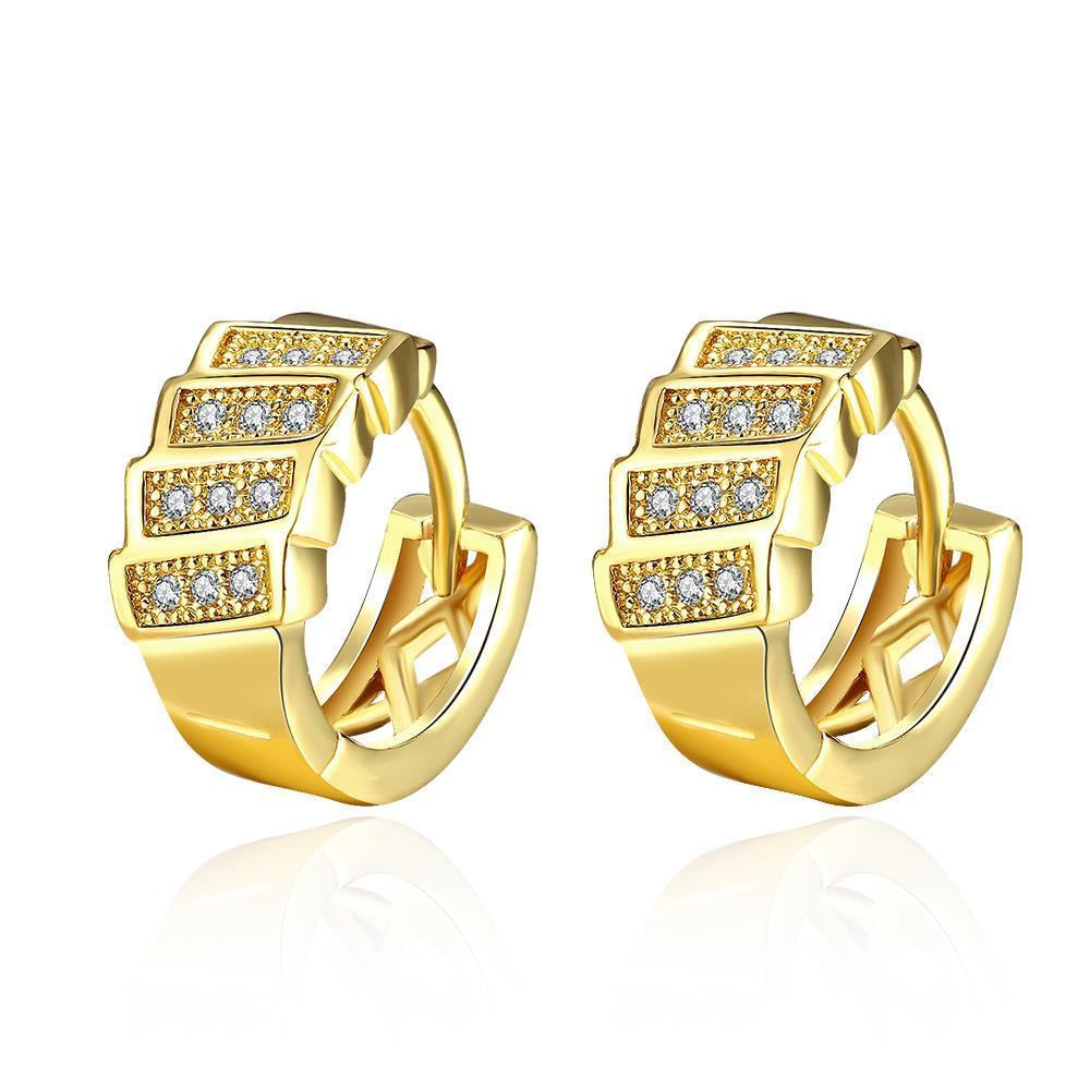 Vienna Jewelry Gold Plated Horizontal Plates Mini Hoop Earrings