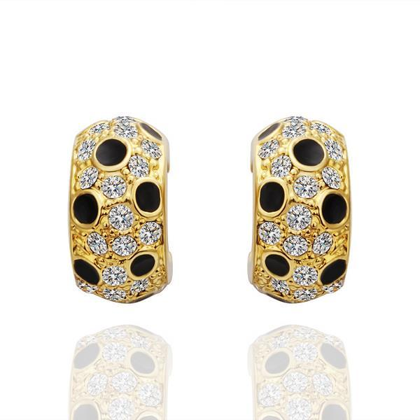 Vienna Jewelry 18K Gold Covered with Onyx Jewels Earrings Made with Swarovksi Elements