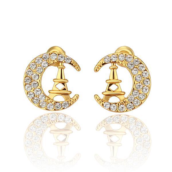 Vienna Jewelry 18K Gold Night In Paris Studs Made with Swarovksi Elements