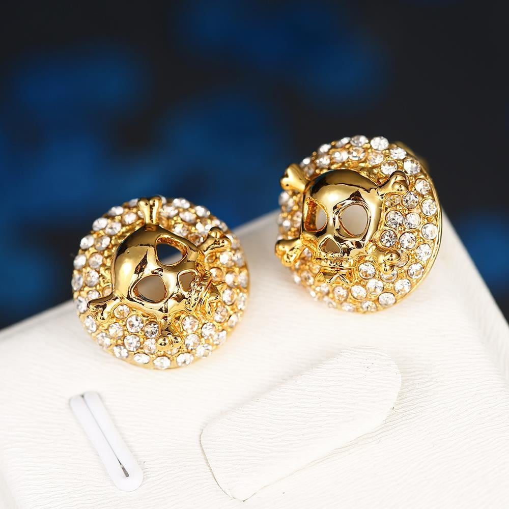 Vienna Jewelry 18K Gold Skull & Bones Stud Earrings Made with Swarovksi Elements