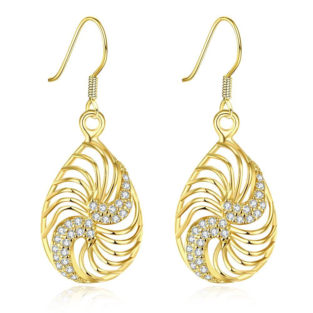 Vienna Jewelry Gold Plated Bling Curves Drop Down Earrings