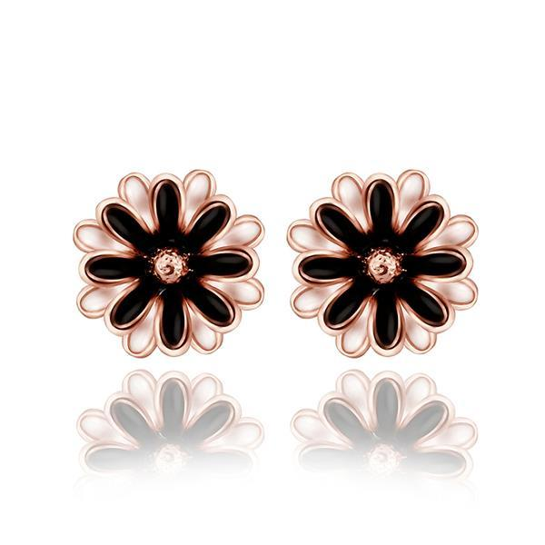 Vienna Jewelry 18K Rose Gold Classic Floral Petal Stud Earrings Made with Swarovksi Elements
