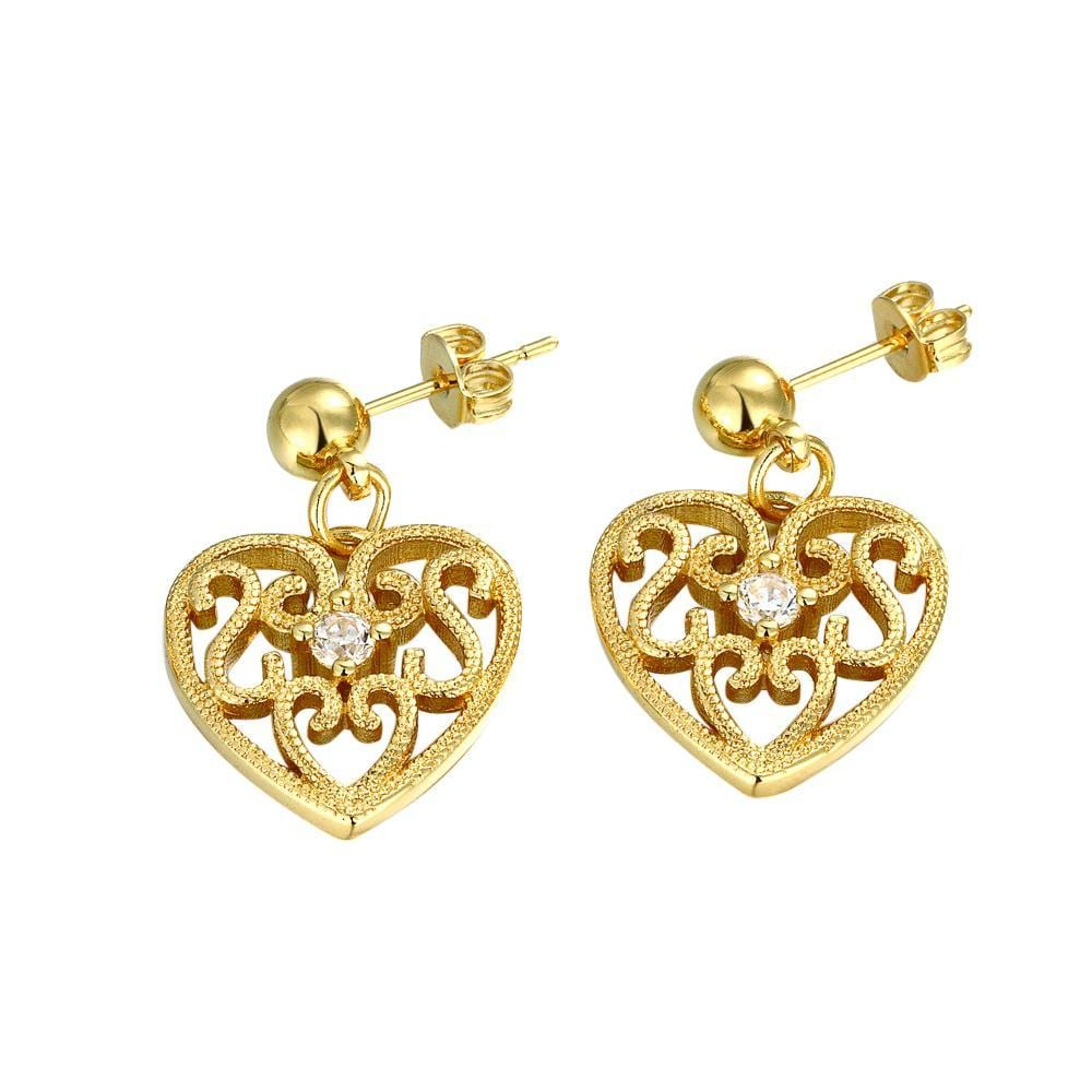 Vienna Jewelry Gold Plated Laser Cut Classic Heart Studs