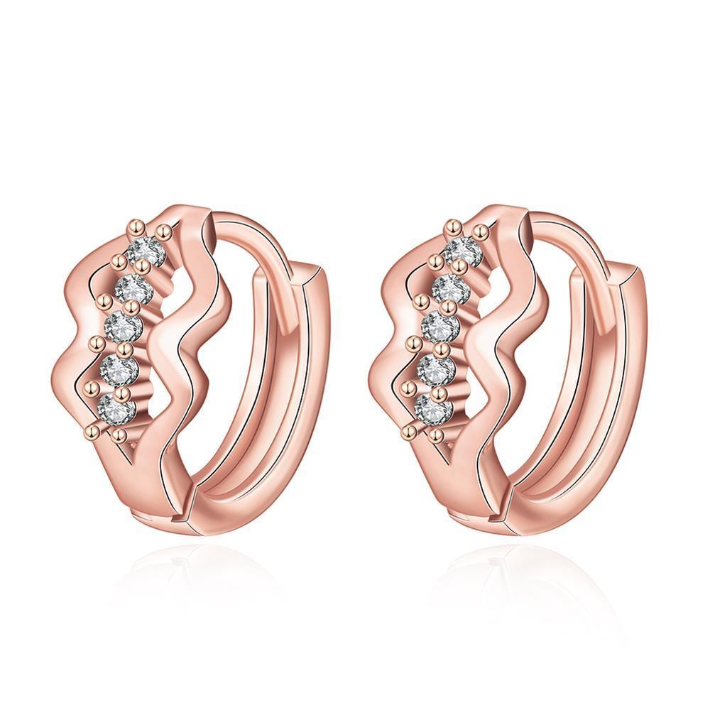 Vienna Jewelry Rose Gold Plated Double Diamond Shaped Mini Hoop Earrings