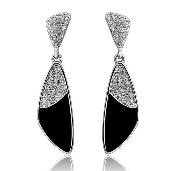 Vienna Jewelry 18K White Gold Classic Onyx Drop Down Earrings Made with Swarovksi Elements