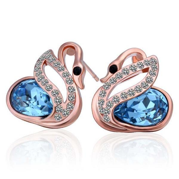 Vienna Jewelry 18K Rose Gold Elegant Swan Earrings Made with Swarovksi Elements