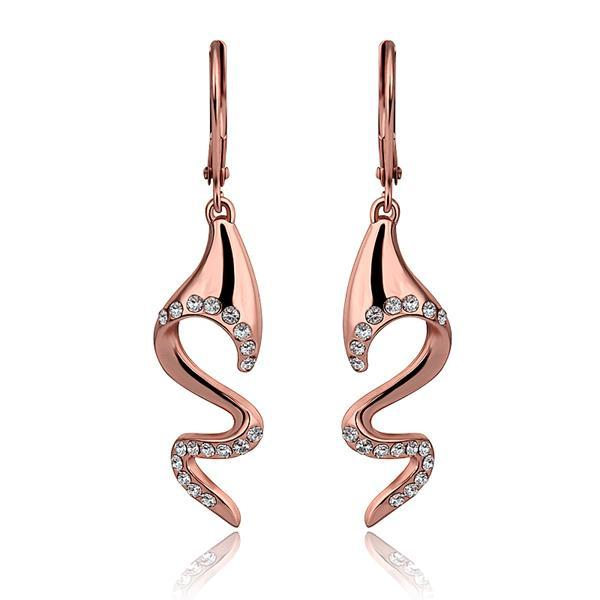 Vienna Jewelry 18K Rose Gold Spiral Drop Down Earrings Made with Swarovksi Elements