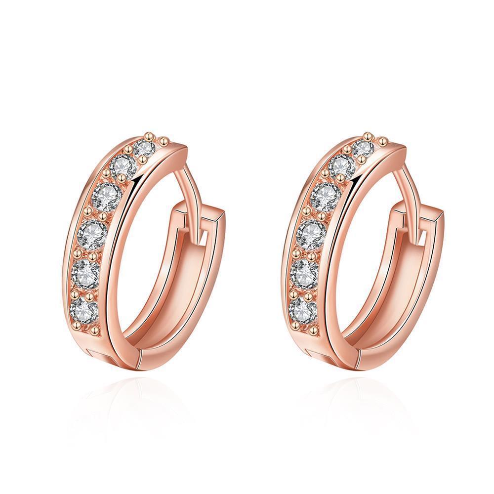 Vienna Jewelry Rose Gold Plated Classic Diamond Jewels Mini Hoop Earrings