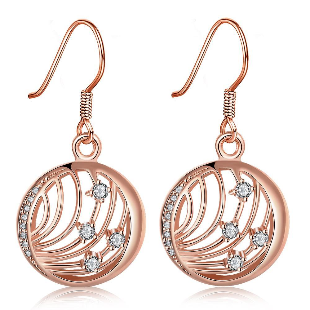Vienna Jewelry Rose Gold Plated Laser Cut Wire Jewels Drop Down Earrings