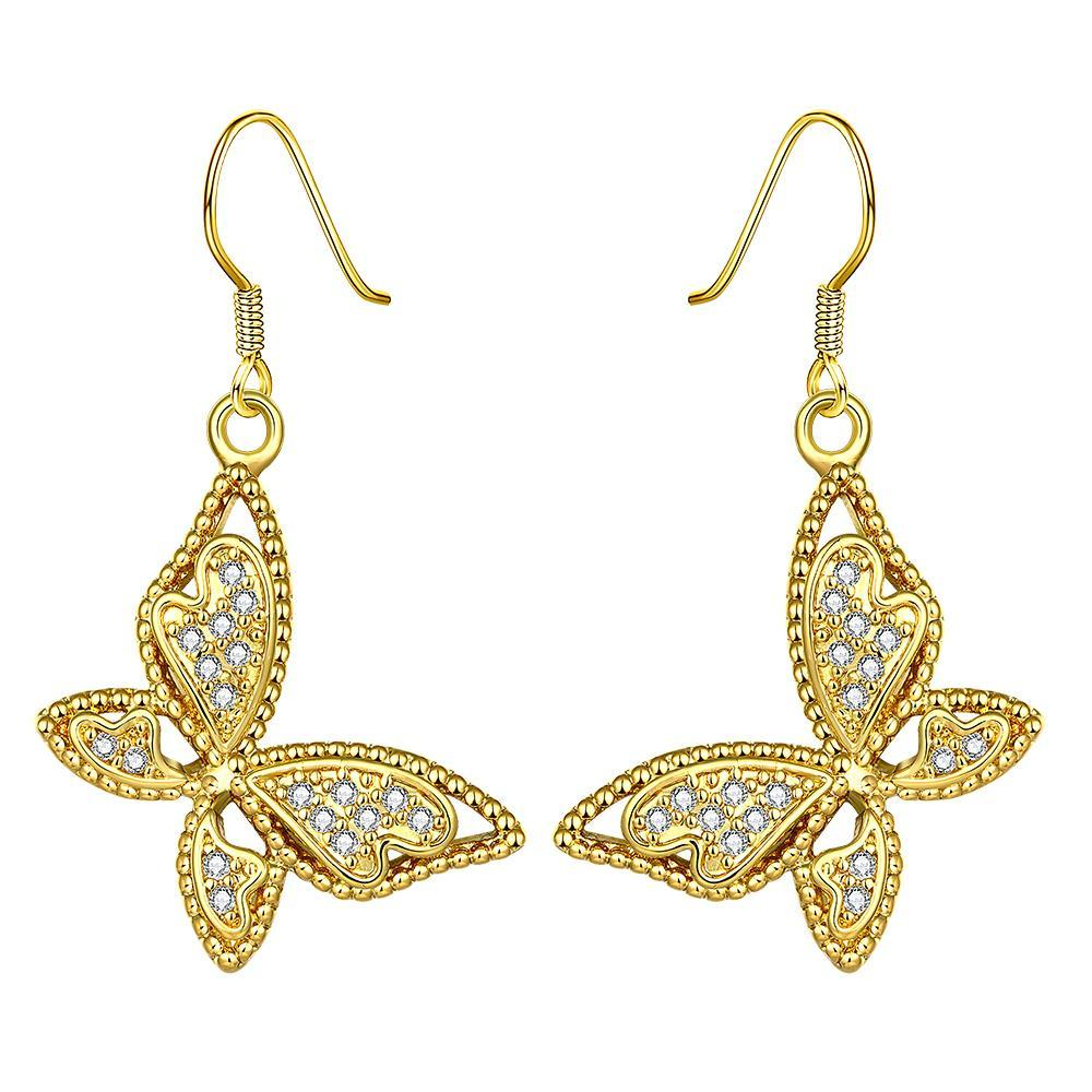 Vienna Jewelry Gold Plated Butterflies Drop Down Earrings - Thumbnail 0