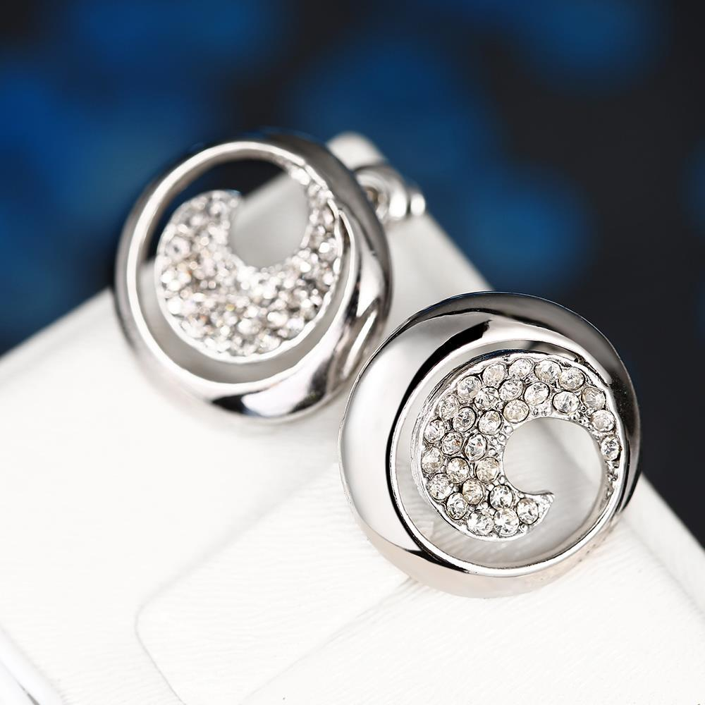 Vienna Jewelry 18K White Gold Swirl Stud Earrings Covered with Jewels Made with Swarovksi Elements