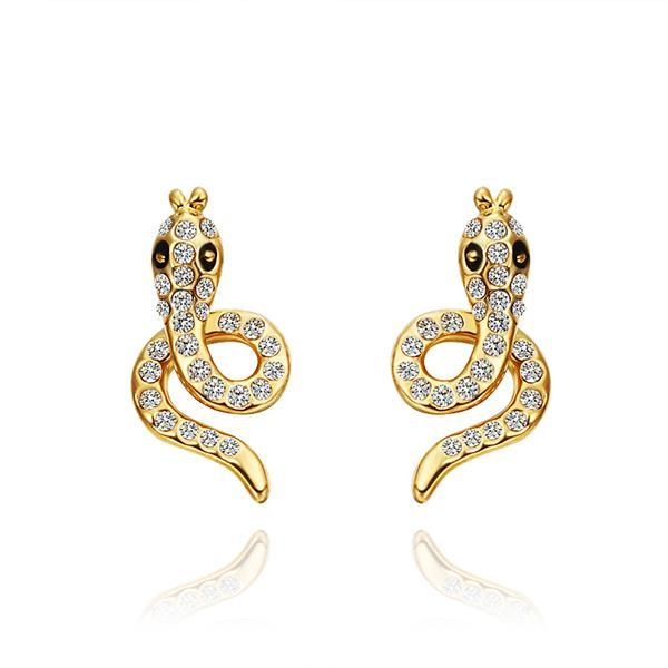 Vienna Jewelry 18K Gold Spiral Cobra Shaped Stud Earrings Made with Swarovksi Elements