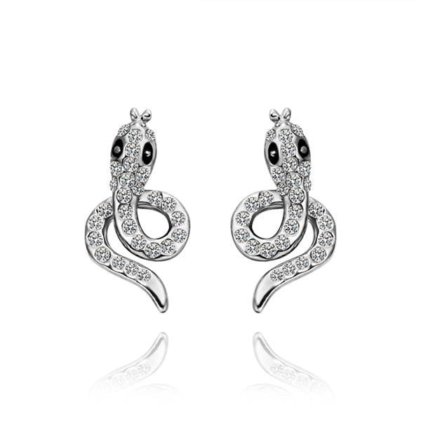 Vienna Jewelry 18K White Gold Spiral Cobra Shaped Stud Earrings Made with Swarovksi Elements - Thumbnail 0