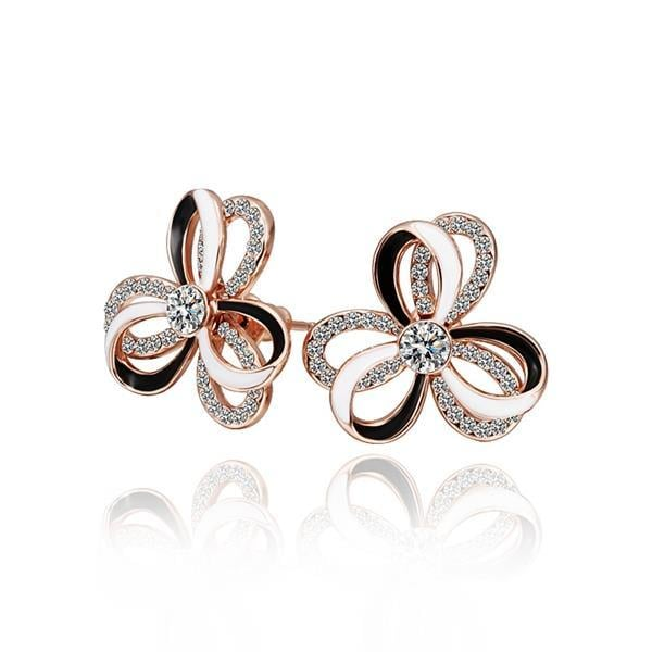 Vienna Jewelry 18K Rose Gold Triple Layered Rose Petals Stud Earrings Made with Swarovksi Elements