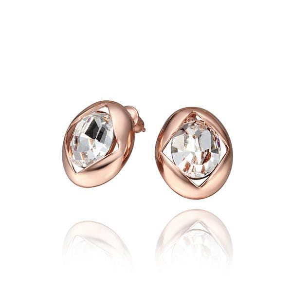 Vienna Jewelry 18K Rose Gold Round Stud Earrings with Crystal Centerpiece Made with Swarovksi Elements