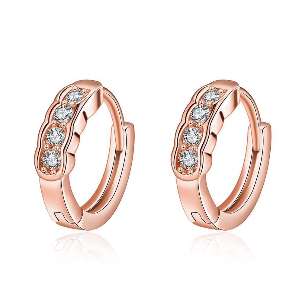 Vienna Jewelry Rose Gold Plated Circular Jewels Mini Hoop Earrings