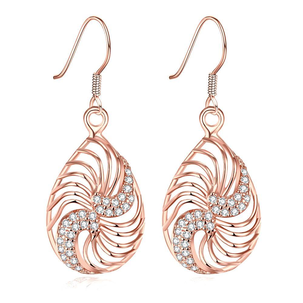 Vienna Jewelry Rose Gold Plated Bling Curves Drop Down Earrings