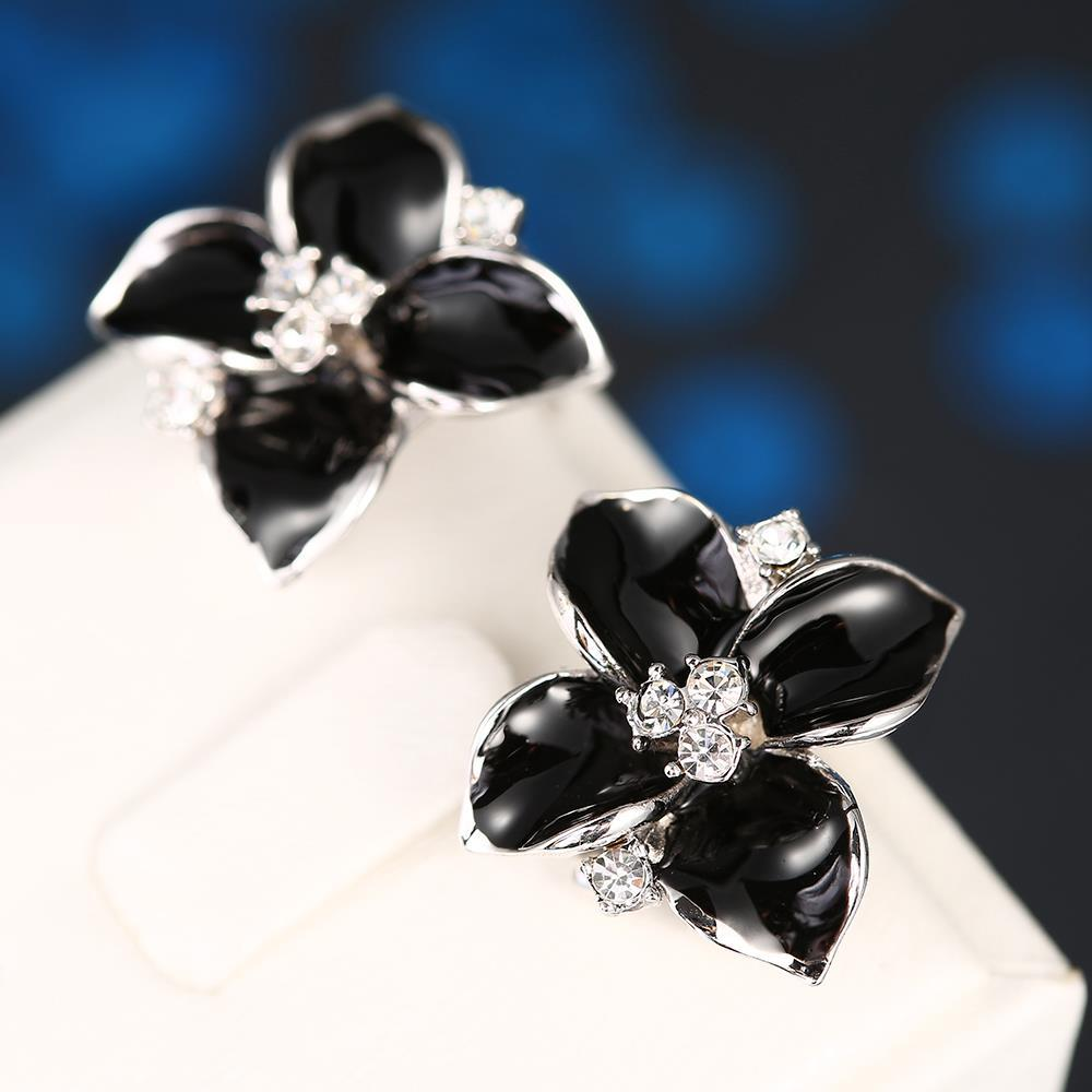 Vienna Jewelry 18K White Gold Classic Onyx Rose Petal Earrings Made with Swarovksi Elements - Thumbnail 0